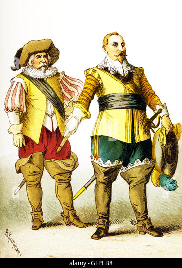 The figures shown here represent, from left to right, are: a Swede and Swedish king Gustavus Adolphus (died 1632).The - Stock Image