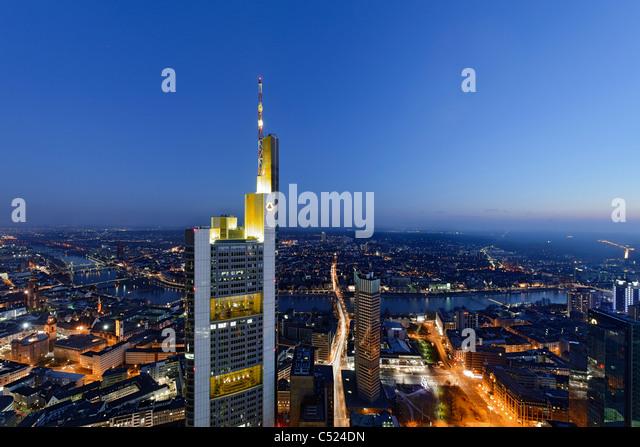 Panorama at dusk, facing south, Sachsenhausen, Main Tower, Frankfurt am Main, Hesse, Germany, Europe - Stock Image