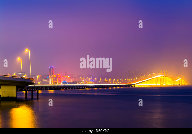 Friendship Bridge at Night. Macau. View from the Taipa. - Stock Image