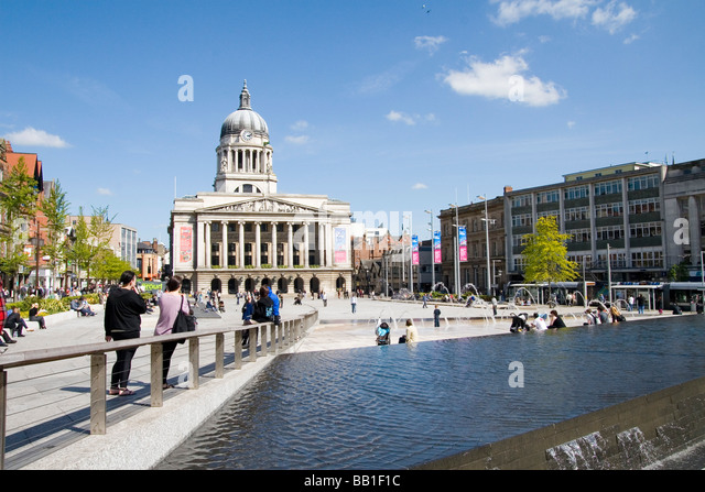 Nottingham Market Square on a nice sunny afternoon. - Stock Image