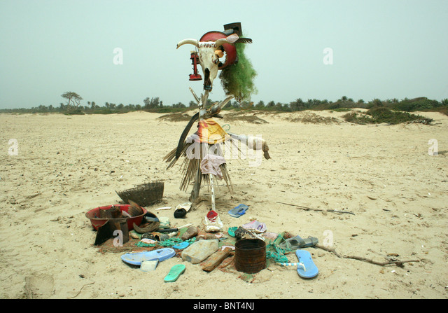 Ritual offering on beach, Cap Skiring, Casamance region, Senegal, 2008 - Stock Image