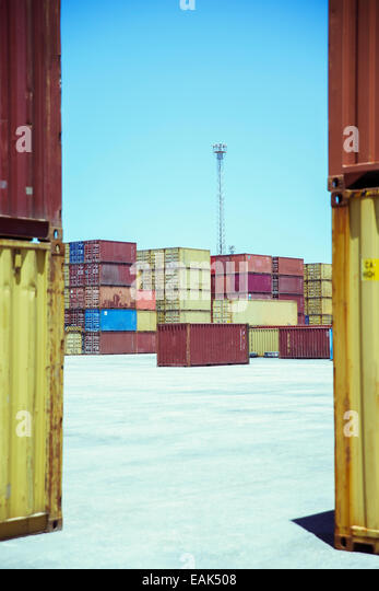 Stacked cargo containers - Stock Image