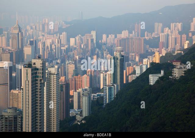 View from The Peak, Shan Teng, Hong Kong, China. - Stock-Bilder