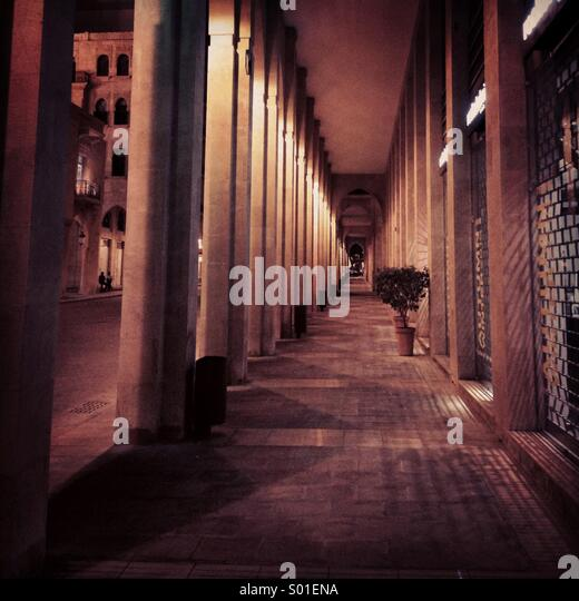Pass way between pillars - Beirut Lebanon Middle East - downtown - Stock Image