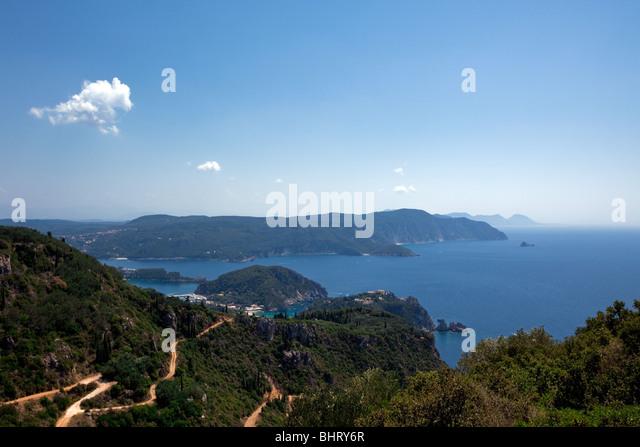 sea landscape. view of Kerkira island - Stock Image