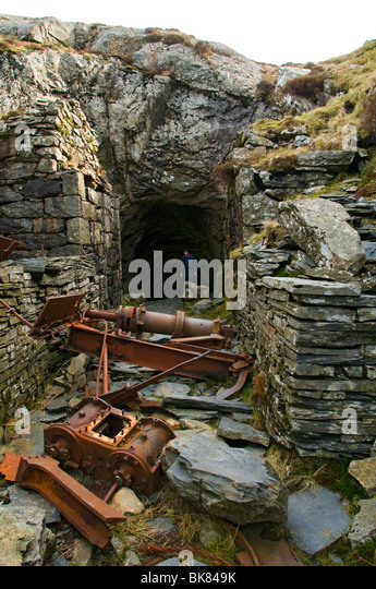 Abandoned mine workings in the Moelwyn hills, near Blaenau Ffestiniog, Snowdonia, North Wales, UK - Stock Image