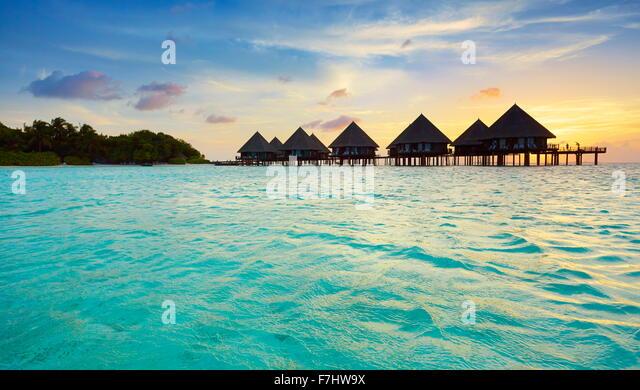 Sunset at Maldives Islands - Stock Image