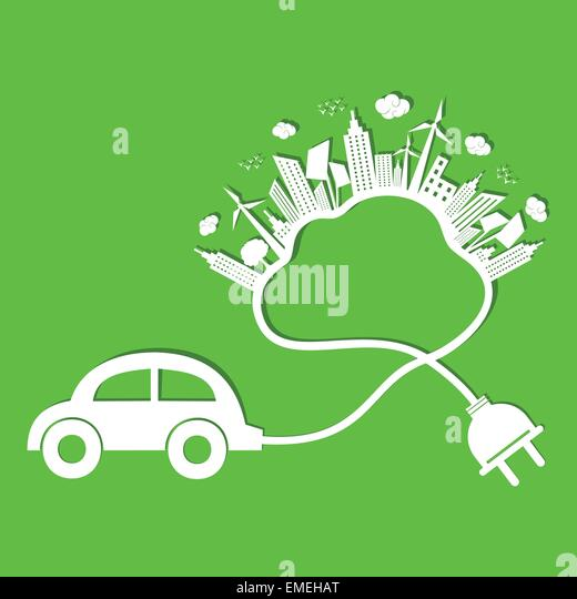 Ecology concept with eco car and cloud - Stock-Bilder