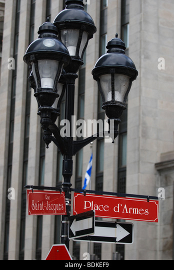 Direction to Place d'Armes square in Montreal, Canada - Stock Image