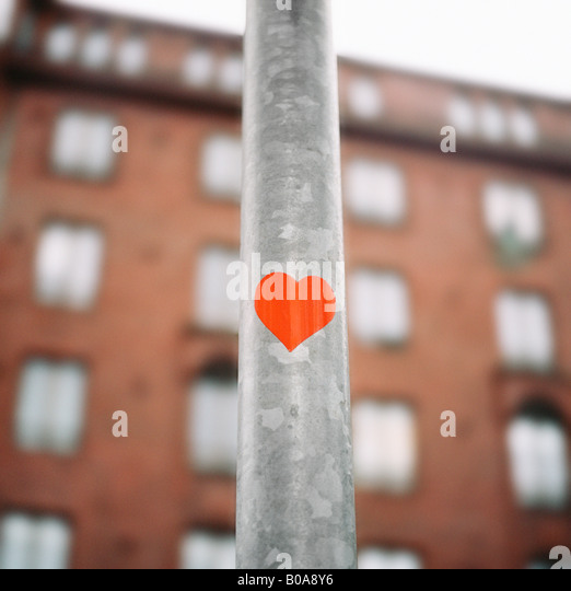 Low angle view of a heart shape on a pole - Stock-Bilder