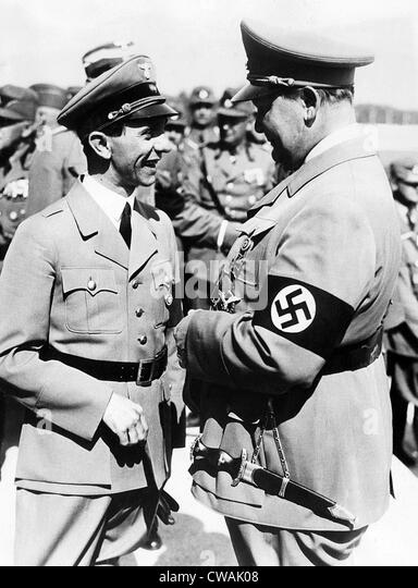 Two of Adolf Hitler's top aides, Dr. Joseph Goebbels, Reich propaganda minister, and General Hermann Goering, - Stock Image