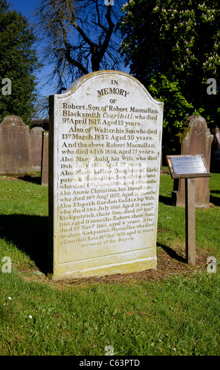 Kirkpatrick Macmillan grave stone in Keir Mill graveyard inventor of the bicycle Dumfries and Galloway Scotland - Stock Image