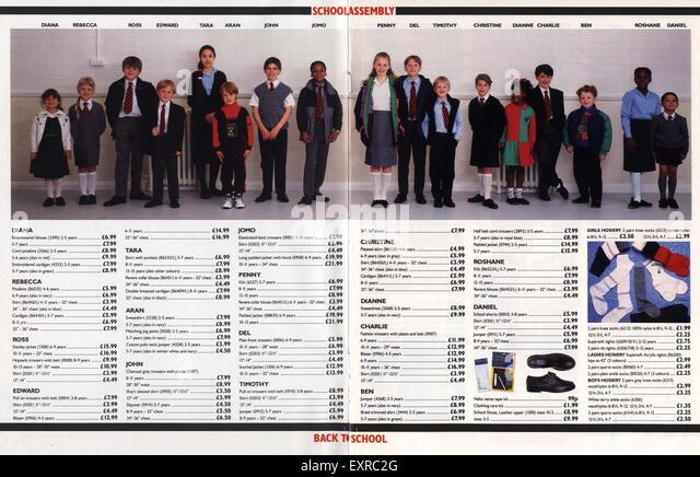 1990s UK School Uniforms Catalogue/ Brochure Plate - Stock Image