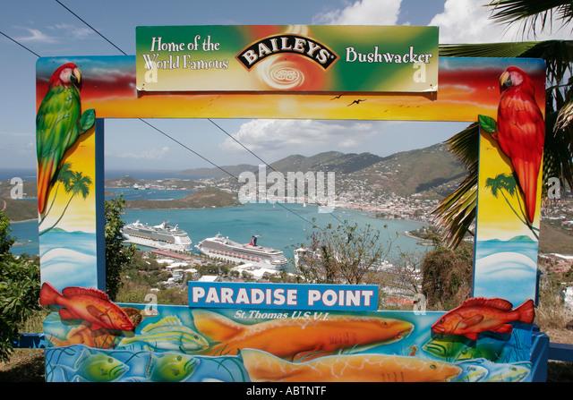 St. Thomas USVI Paradise Point Charlotte Amalie Harbor Caribbean Sea cruise ships photo opportunity - Stock Image