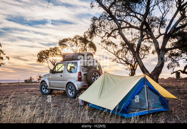 sunrise at the  Hancock's Lookout camp site at near Wilmington South Australia - Stock Image