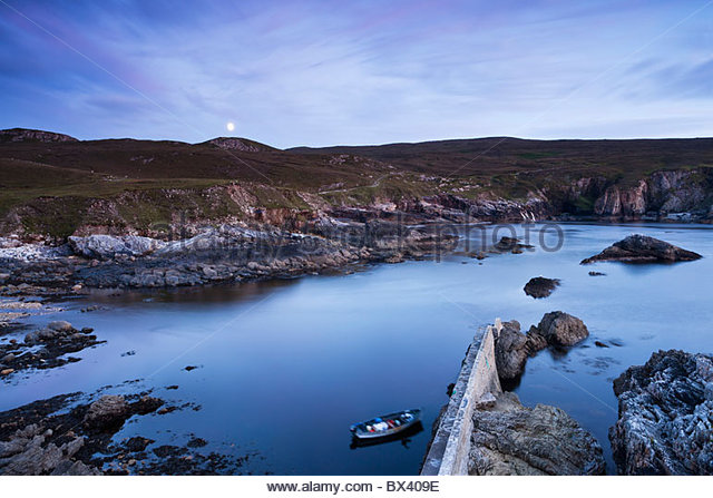 Moonrise Over An Port; County Donegal, Ireland - Stock Image
