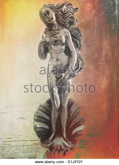 a small silver statue of Greek Goddess Aphrodite - Stock Image