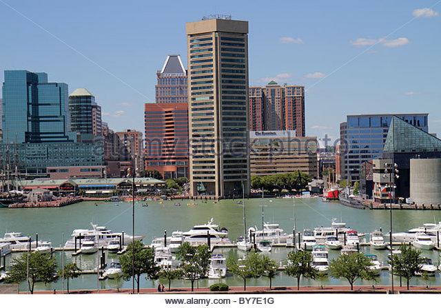 Maryland Baltimore Federal Hill Park Inner Harbor Patapsco River port waterfront skyline World Trade Center office - Stock Image