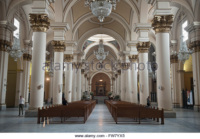 Bogota Colombia, Cathedral interior. - Stock Image