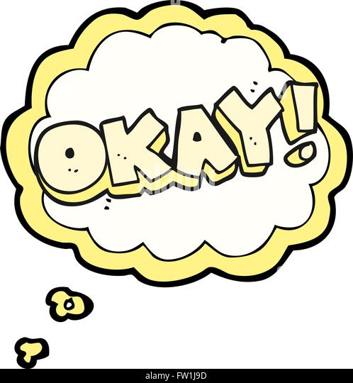 freehand drawn thought bubble cartoon okay symbol - Stock Image