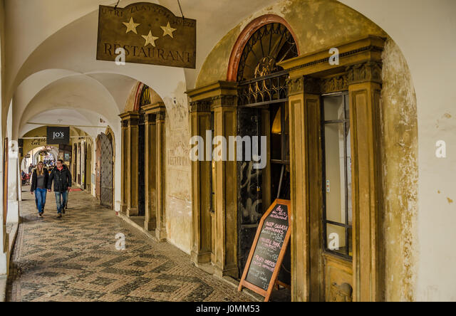 Restaurant U Tří Zlatých Lvů • Three Golden Lions Prague - Stock Image