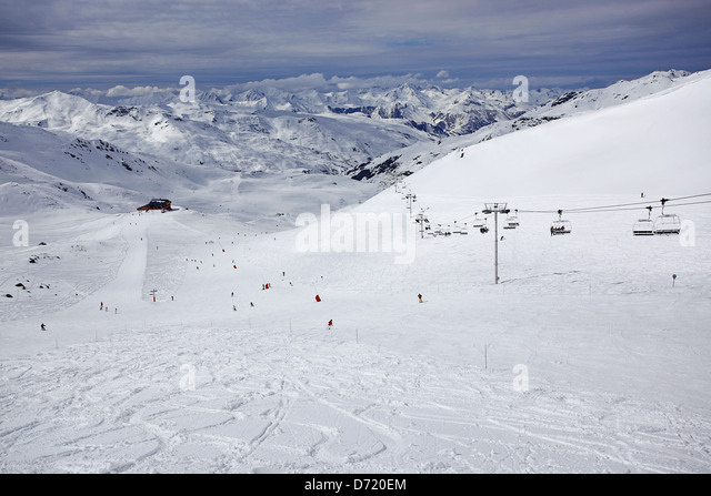 Typical travel type photo from a skiing holiday in the French Alps - Stock-Bilder