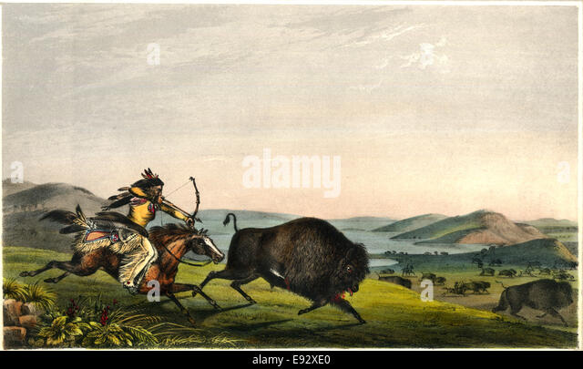 Hunting the Buffalo, Rice Rutter & Co, from a Painting by Peter Rindisbacher 'Assiniboin Hunting on Horseback', - Stock Image