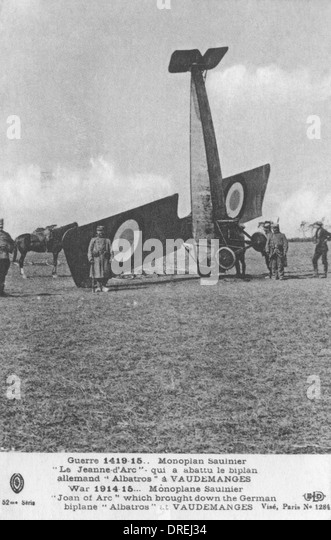 Crashed RAF aircraft - WWI - Stock Image