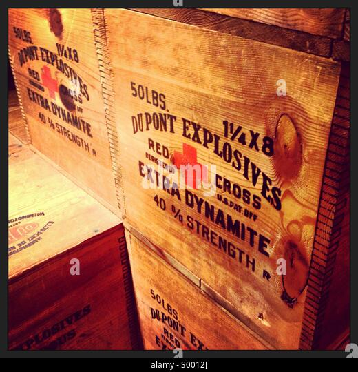 Prop crates of explosives in a museum. - Stock Image