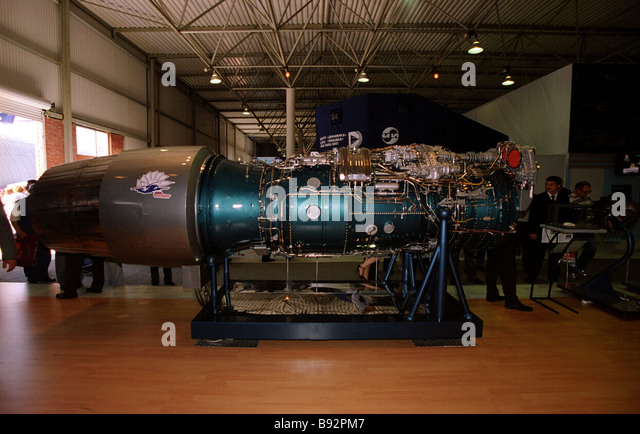A jet engine for SU class fighters exhibited at the 6th international aerospace show MAKS 2003 in Zhukovsky near - Stock Image