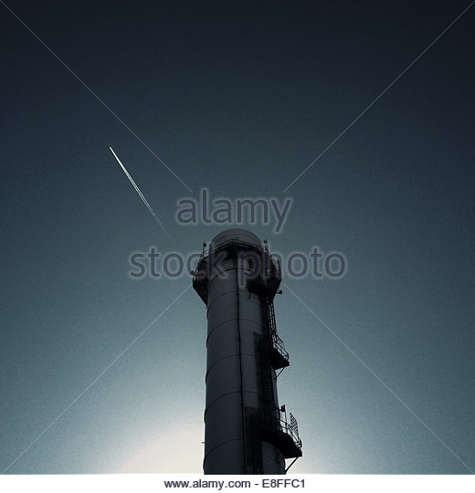 Sky Over Smoke stack - Stock Image