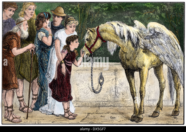 Pegasus petted by a young girl in ancient Greece. - Stock-Bilder