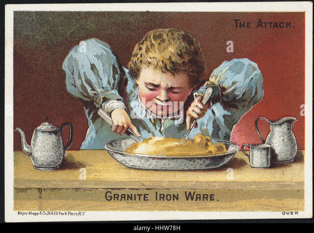 The attack. Granite iron ware. (front)  - Home Furnishings Trade Cards - Stock Image