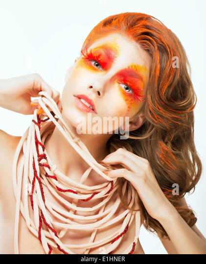 Expression. Face of Bright Red Hair Artistic Woman. Art Concept - Stock Image