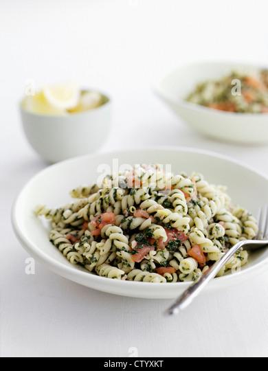 Dish of pesto pasta - Stock Image