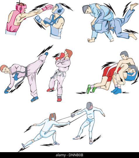 Struggle and Fighting Sports: Boxing, Judo, Taekwondo, Fencing, Freestyle and Greco-Roman Wrestling. Set of color - Stock Image