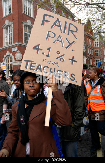 Teachers strike & demonstration about fair pay  march through central London April 2008. - Stock Image