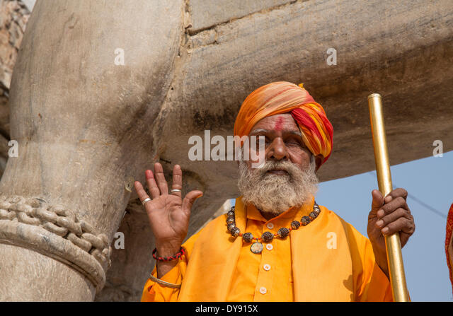 Man, Hindu, Jagdish, temple, Udaipur, Rajasthan, Asia, church, religion, India, - Stock Image