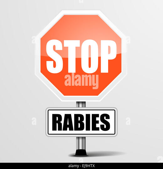 red rabies Stop Sign - Stock Image