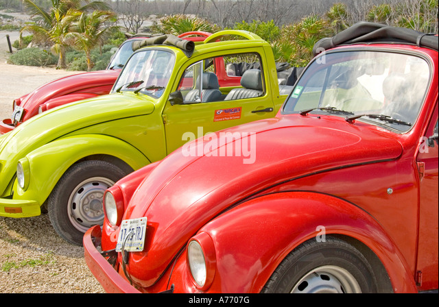 Mexico Cozumel  rental Volkswagen convertibles parked at the beach - Stock Image