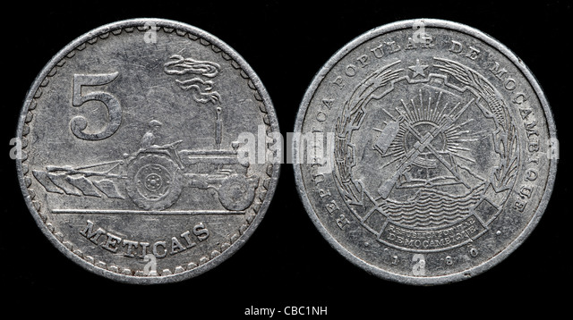 5 Meticais coin, Mozambique, 1980 - Stock Image