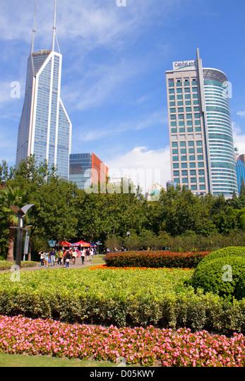 China Shanghai Huangpu District Nanjing Road People's Park Shimao International Plaza Raffles City skyscraper - Stock Image