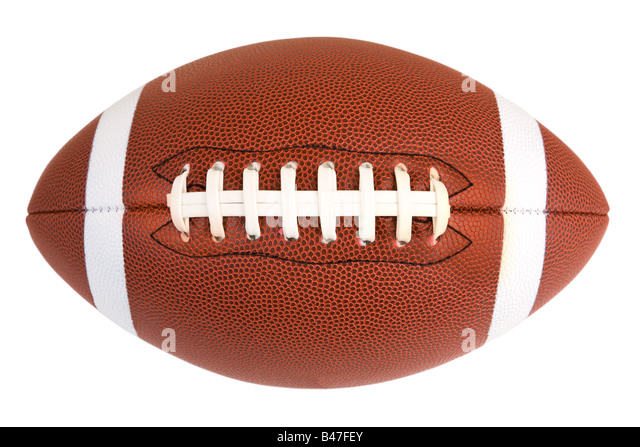 This is an isolated closeup of an American Football - Stock Image