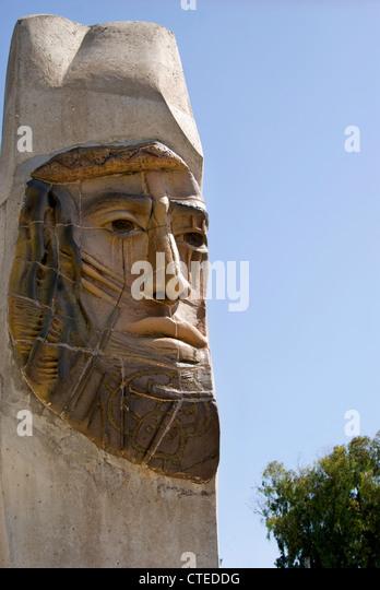 Sculpture Of A Human Face; Mendoza, Argentina - Stock Image