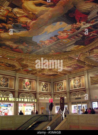Las Vegas Venetian Hotel and Casino colorful ceiling painting religious theme art decoration - Stock Image