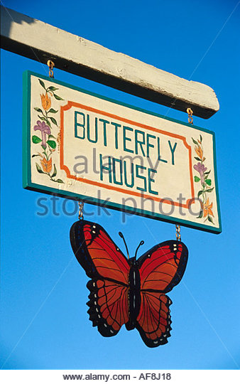 Bahamas Elbow Cay Hope Town Harbour Lodge Butterfly House sign - Stock Image