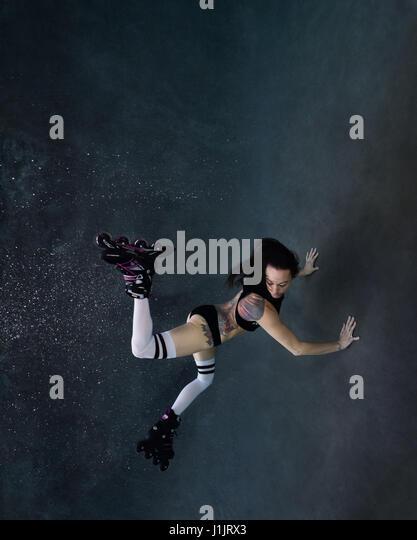 Roller blader underwater - Stock Image
