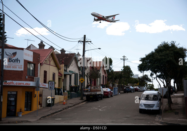 Noise pollution from Jet Aircraft on landing approach to Sydney Airport St Peters Sydney Australia - Stock Image