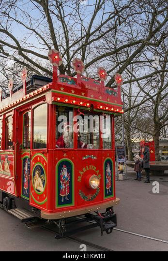 Christmas Tram, Maerlitram, Santa Claus, Zurich, Switzerland - Stock Image
