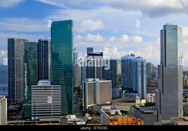 Skyscrapers, Downtown Miami, Florida USA - Stock Image